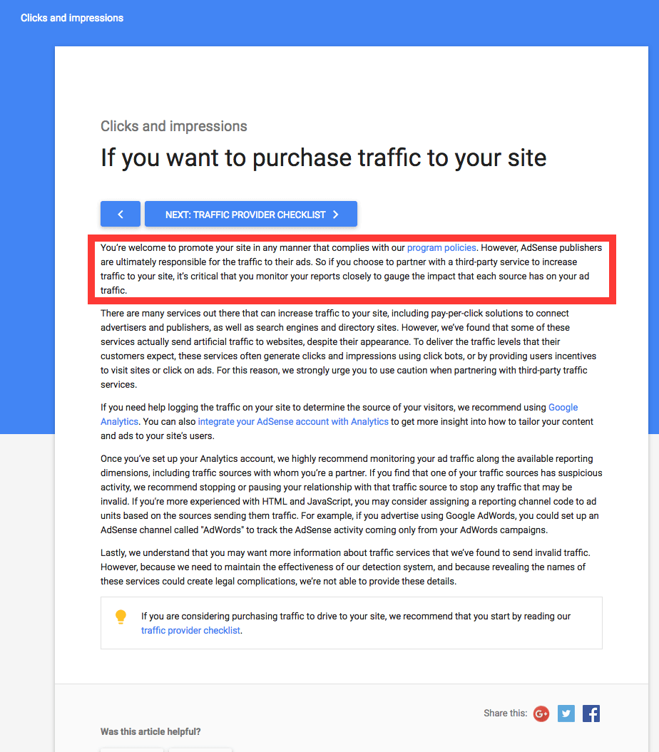 adsense safe paid traffic